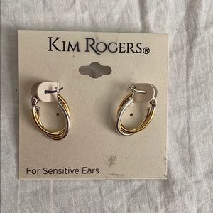 Silver and gold oval hoops